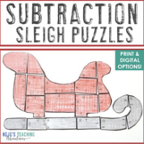 SUBTRACTION Santa Sleigh Activity   Christmas Math Games, Centers, or Puzzles