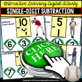 SUBTRACTION Touch and Count BASEBALL THEME - NO PRINT DIGITAL Math Activity