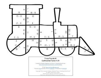 SUBTRACTION Train Activity   Polar Express Math Games, Centers, or Stations