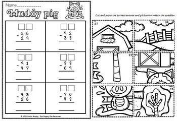 SUBTRACTION WITH REGROUPING MUDDY PIG