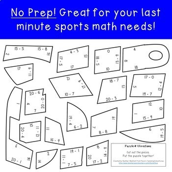 SUBTRACTION Whistle Math Puzzles | FUN Sports Math Centers for Review or Games