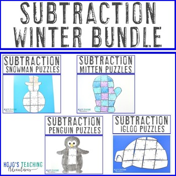 SUBTRACTION Winter Math Games - Snowman, Penguin, Mitten, and Igloo Puzzles!