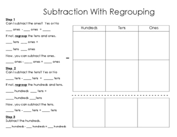 SUBTRACTION with and without regrouping practice to 1,000