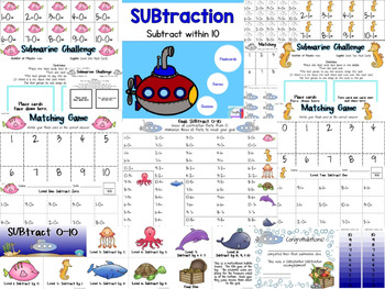 SUBtraction to 10 Timed Tests, Games, Reward System