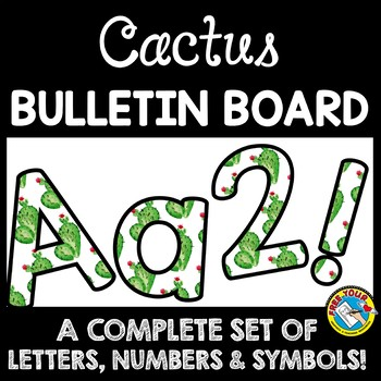 photograph about Printable Letters and Numbers called SUCCULENT CLASSROOM DECOR CACTUS BULLETIN BOARD LETTERS PRINTABLE, Quantities, Etcetera