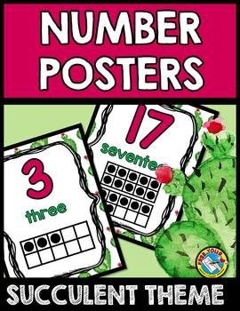 SUCCULENT CLASSROOM DECOR NUMBER POSTERS NUMBER POSTERS 1-20 WITH TEN FRAMES