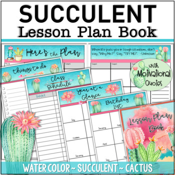 photograph relating to Teacher Plan Books titled SUCCULENT Lesson System Ebook ~ Trainer Planner