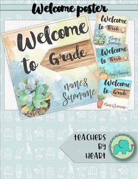 SUCCULENT THEME decor Welcome Poster
