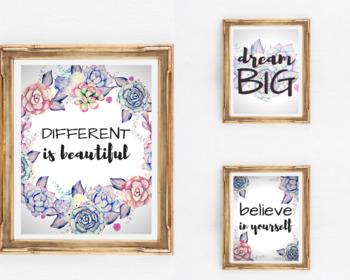 SUCCULENT WALL ART   Inspirational Quotes   Classroom Art   Watercolor Prints