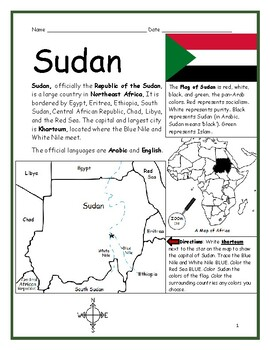 SUDAN - Printable handout with map and flag