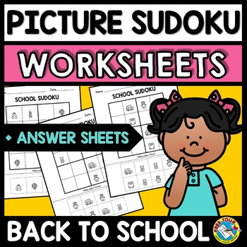 PICTURE SUDOKU CUT AND PASTE WORKSHEETS (BACK TO SCHOOL ACTIVITY SECOND GRADE)