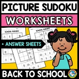 PICTURE SUDOKU CUT AND PASTE WORKSHEETS (BACK TO SCHOOL AC