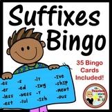 SUFFIXES Bingo- Classroom Vocabulary Fun w/ 35 Bingo Cards Included!