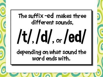 SUFFIXES -ED Sorting Activity