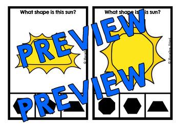 SUMMER MATH CENTER (SUN SHAPES CLIP CARDS) END OF THE YEAR ACTIVITY KINDERGARTEN