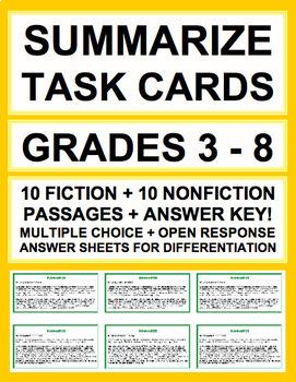 SUMMARIZE TASK CARDS: 20 ACTIVITIES: GRADES 3 - 6