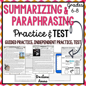 SUMMARIZING AND PARAPHRASING: PRACTICE WORKSHEETS AND ASSESSMENT