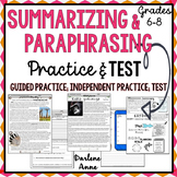 Summarizing & Paraphrasing Practice Worksheets and Test DISTANCE LEARNING