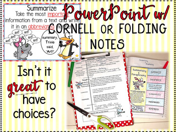 SUMMARIZING & PARAPHRASING POWERPOINT, NOTES, & GRAPHIC ORGANIZERS