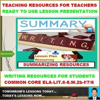SUMMARY WRITING - READY TO USE LESSON PRESENTATION