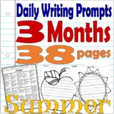 SUMMER * 75 Daily Writing Journal Prompts * Shaped Primary Lined Paper June-Aug