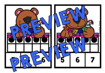 SUMMER ACTIVITIES (TEN FRAMES CLIP CARDS) PRE K SUMMER BEAR 10 FRAMES CENTER