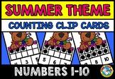 SUMMER SCHOOL ACTIVITIES MATH PRESCHOOL (TEN FRAMES CLIP CARDS) COUNTING TO 10