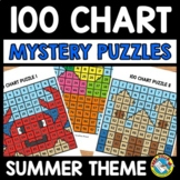 SUMMER ACTIVITY KINDERGARTEN (100 CHART MYSTERY PICTURE PUZZLES)