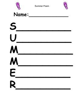 SUMMER Acrostic Poem
