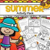 SUMMER Activities Printables Pack Low Prep Letters Numbers