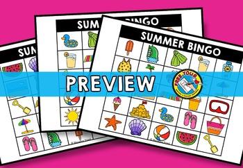 SUMMER BINGO GAME WITH PICTURES (END OF YEAR ACTIVITIES) SUMMER KINDERGARTEN