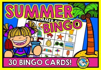 SUMMER BINGO GAME WITH PICTURES (END OF YEAR ACTIVITY KINDERGARTEN, PRESCHOOL)