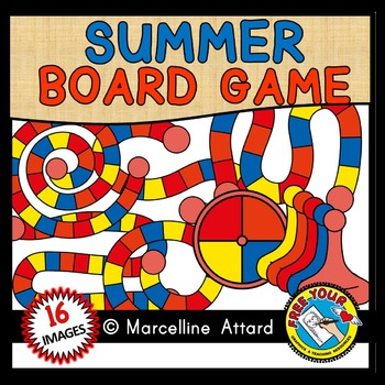 SUMMER GAME BOARD CLIPART: BUILD A GAME CLIPART: SUMMER CLIPART
