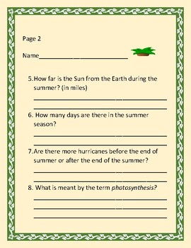 SUMMER BOTANY: 18 PAGES: AN ACTIVITY FOR ADVANCEMEN/T/ENRICHMENT; GRADES 3-8, MG