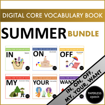 SUMMER BUNDLE - AAC Core Vocabulary Digital Book - ON, IN, OFF, WANT, MY, YOUR