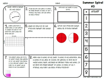 SUMMER Before 4th Math Spiral Review: Daily Math for 3rd graders going into 4th