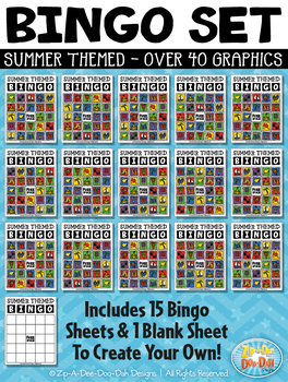 SUMMER Bingo Cards Printable & Clipart Set {Zip-A-Dee-Doo-Dah Designs}