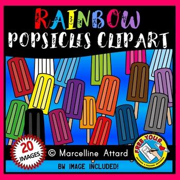 SUMMER CLIP ART: RAINBOW POPSICLES CLIPART