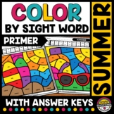 SUMMER COLOR BY SIGHT WORD WORKSHEETS KINDERGARTEN REVIEW PACKET COLORING PAGES