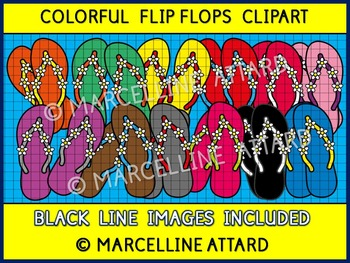 COLORFUL FLIP FLOPS CLIPART: SUMMER CLIPART: FLIP FLOPS WI