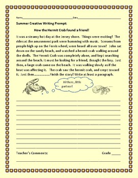 SUMMER CREATIVE WRITING PROMPT: THE HERMIT CRAB:GRADES 3-7