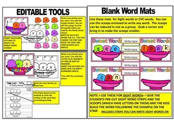 SUMMER- CVC, Family Words, Build a Word Sundae Center Activities