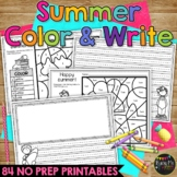 SUMMER Activities for Writing & Math   Color by Number End of Year Activity