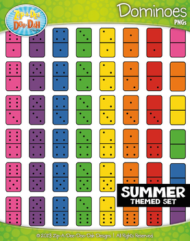 SUMMER Dominoes Clipart {Zip-A-Dee-Doo-Dah Designs}
