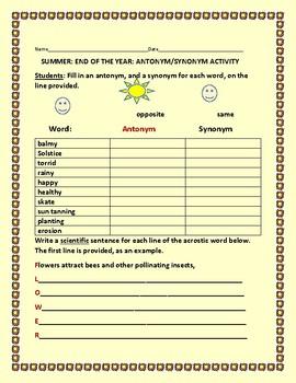 SUMMER: END OF THE YEAR: ANTONYM/ SYNONYM ACTIVITY