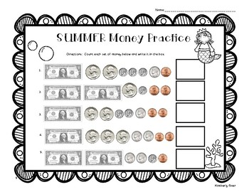 SUMMER / End of Year Counting Money w/Dollars Practice Worksheet