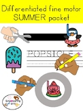 Occupational therapy SUMMER FINE MOTOR & VISUAL MOTOR PACK: differentiated