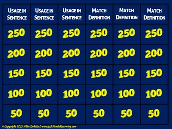 SAT Vocabulary Test-Taking Review Jeopardy Style Game [MS][HS]!