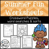 SUMMER FUN Language Arts Crossword Puzzles, Word Searches,