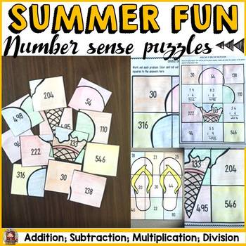 SUMMER FUN: NUMBER PUZZLES {Addition, Subtraction, Multiplication, Division}